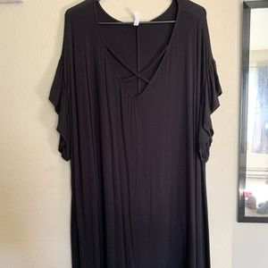 Black criss cross dress with ruffle sleeves